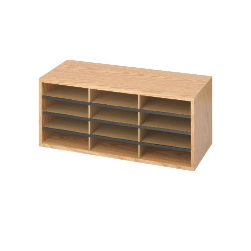 Safco Products 9401MO Literature Organizer Wood/Corrugated, 12 Compartment, Medium Oak by Safco Products
