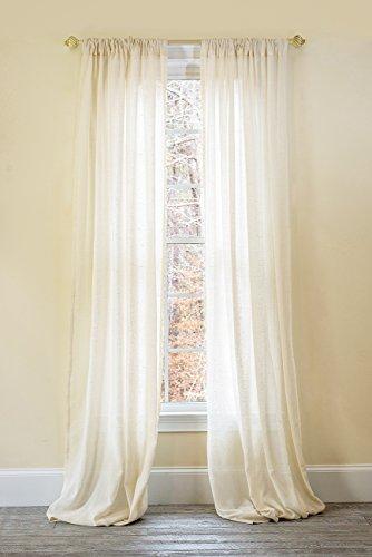 (Manor Luxe Palermo Sheer Rod Pocket Window Curtain, Single Panel, 52 x 96)