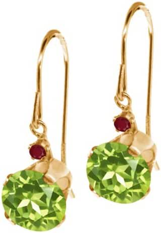1.84 Ct Round Green Peridot Red Ruby 14K Yellow Gold Earrings
