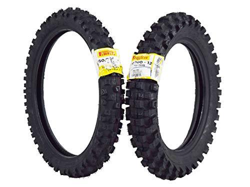 Pirelli Scorpion MX Extra J 60/100-14 Front 80/100-12 Rear Pit Bike Motorcycle Motocross Tires Set KLX TTR 110 (Pit Bike Tire)