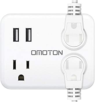 Omoton WM02 Travel Wall Plug with 3 Outlets & 2 USB Charging Ports