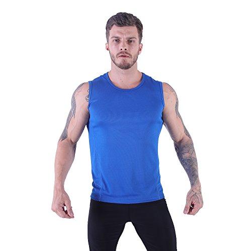 H.MILES Men's Performance Sleeveless T-Shirt Gym Essential Tank Tops Blue XL ()