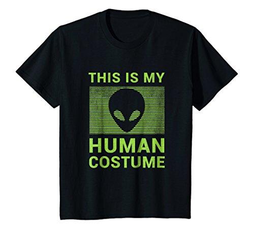 Kids Funny Alien Halloween Shirt Easy Costume Gift Idea 8 Black ()