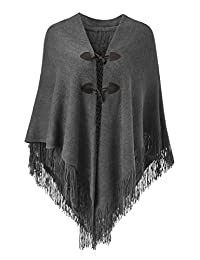 Ferand Women's Loose Fitting Poncho Cape Shawl with Stylish Horn Buttons