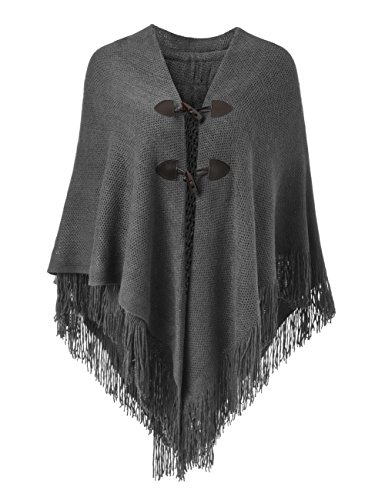 Ferand Women's Loose Fitting Poncho Cape Shawl With Stylish Horn Buttons, V Neckline and V Hem, Dark (Fashion Poncho)