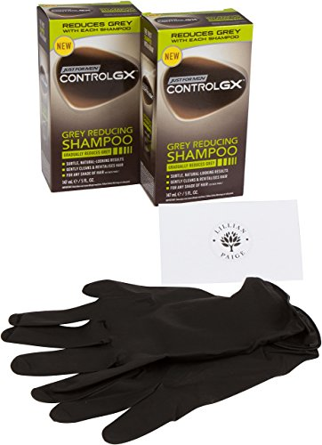LP Bundle - 2 Just for Men Control GX Grey Reducing Shampoo Plus Salon Care 1 Pair Mess and Stain Free, Latex Gloves and LP Tips