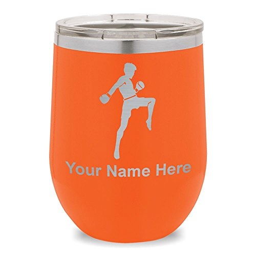 Wine Glass Tumbler, Muay Thai Fighter, Personalized Engraving Included (Orange) by SkunkWerkz