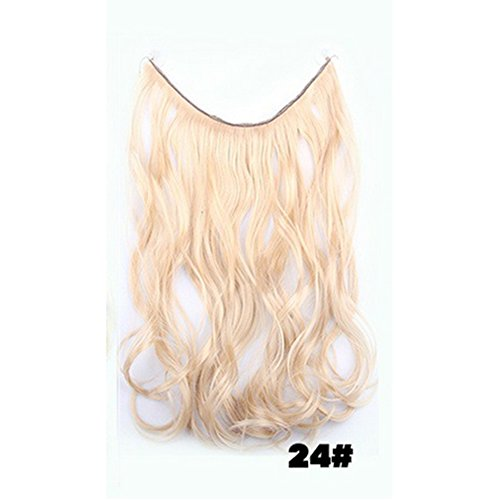 ThinkMax Ladies Hairpieces Long Curly Hair Wig Natural Wave Fish Tape Invisible Halo Hair (Alois Trancy Costume Cheap)