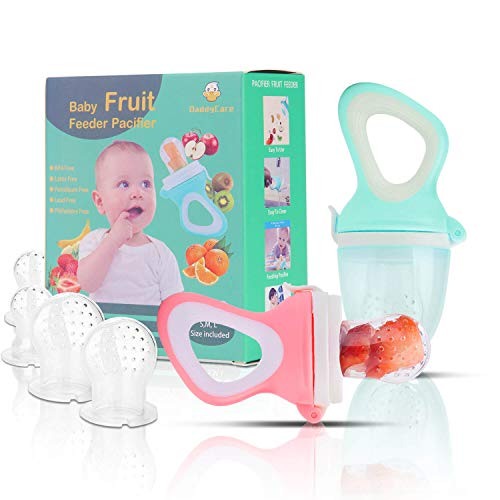 Baby Fruit Feeder Pacifier(2 Pack) - Baby Food Feeder - Infant Fruit Teething Toy for Toddlers Pacifier, Feeder, Teether with 6 PCS Silicone Pouches (Pink & Cyan) (Baby Feeder Fruit)