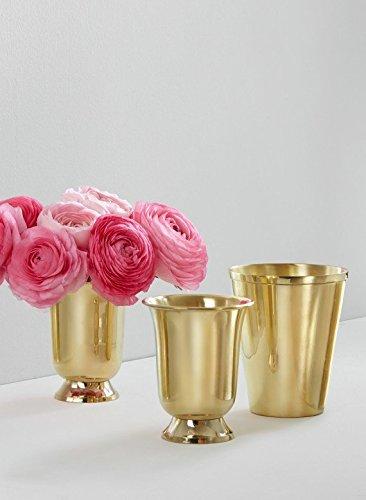 Serene Spaces Living Polished Gold Vase, Large Size - Beautiful Shiny Finish on Brass Vase, (Footed Pedestal Urn)