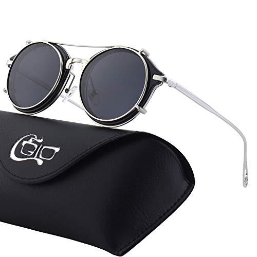 CGID Clip on Sunglasses Polarized Steampunk Metal Retro Circle Double Lens UV400 Vintage Round Mirror Lens Men and women
