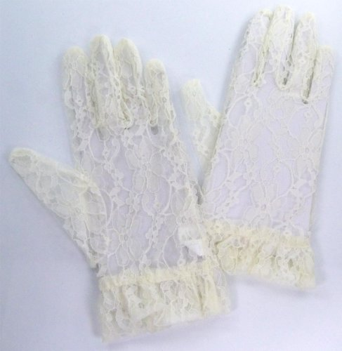 Alluring Short Lace-On-Tulle Gloves in Various Colors for Bride, Bridesmaid, Quinceanera, or Other Special Occasions (IVORY) (Alluring Short)