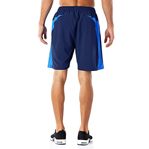 HMIYA Men's Casual Sports Quick Dry Workout Running or Gym Training Short with Zipper Pockets