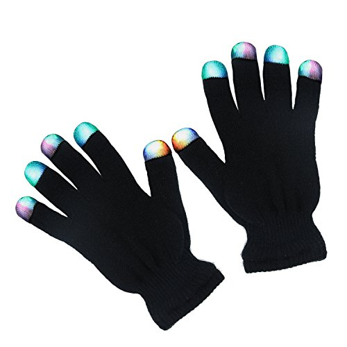 Badalink LED Gloves Light Up Gloves 3 Colors 6 Modes Light Show Flashing Finger Rave Gloves for Clubbing Christmas Party Dance