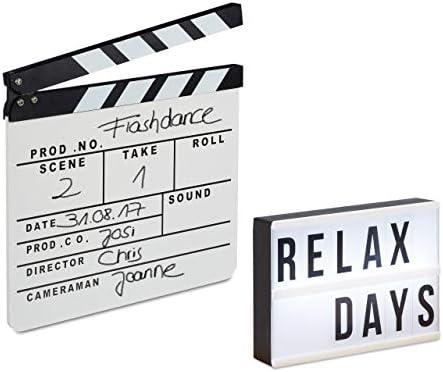 Relaxdays Pack de Caja de Luz Led con 60 Letras y Claqueta de Cine de Madera, Blanco: Amazon.es: Deportes y aire libre