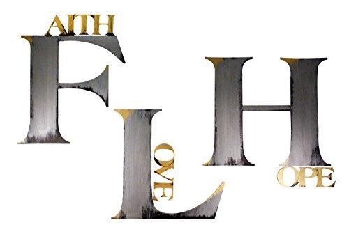 Letter2Word 2AM-FAITHHOPELOVE-GM Faith Hope Love Wall Decor Faith Hope Love Wall Decor, Metallic Bronze and Silver, 24