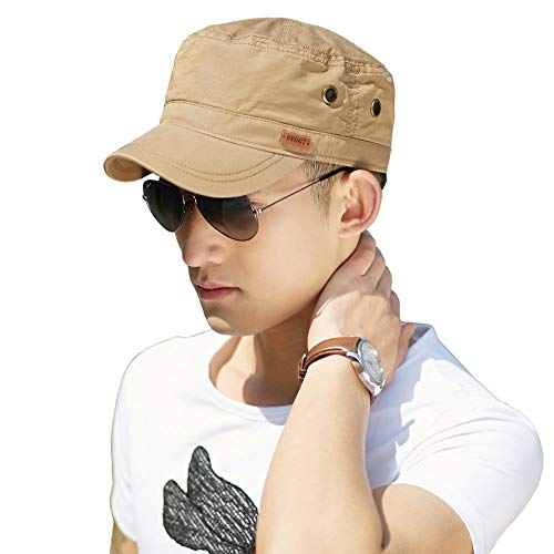 Unisex Mens Cotton Army Caps Military Hats Baseball Sun Hat Trucker Cadet Combat Cap for Men 61-64CM - Hat Earflap Wool