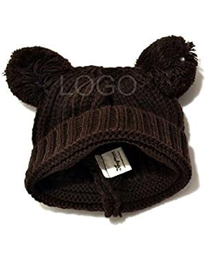 Autumn Winter Baby Kids Knitted Woolen Hat Cute Kids Warm Cap Coffee