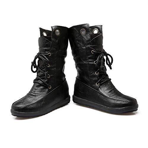 Lanières Bottes Chaudes Pour Rond Femmes Noir Chaussures Bout Holywin Croisées À 1q08YWf