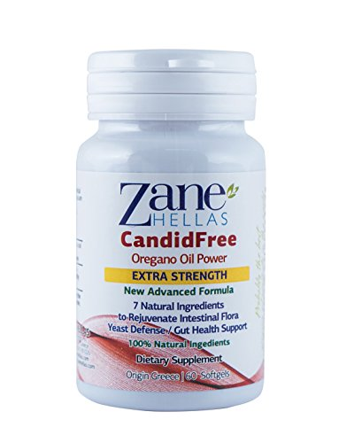Zane Hellas CandidFree Softgels. 100% Natural Formula. Yeast Defense Gut Health Support. Helps Intestinal Flora. 60 Softgels with 7 Natural Ingredients.