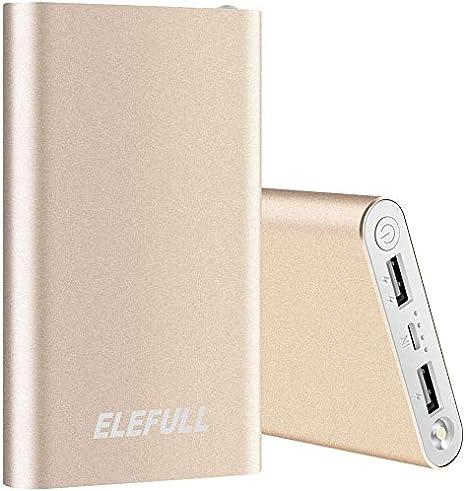 TALLA 10000mAh Oro. Batería Externa 10000mAh con Linterna 2 Puertos USB Banco de Energía Portátil Rápido con Carcasa Metálica y Aspecto Elegante para Teléfonos Móviles Tabletas y Otras Electrónicas (10000mAh Oro)