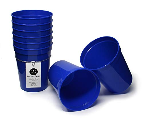 Rolling Sands 16 Ounce Reusable Plastic Stadium Cups Blue, 8 Pack, Made in USA, BPA-Free Dishwasher Safe Plastic Tumblers