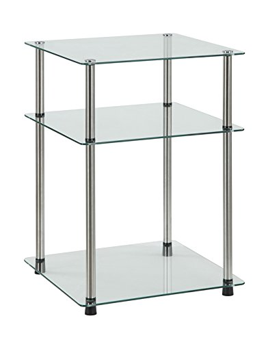 Convenience Concepts Designs2Go 3-Tier End Table, Clear Glass