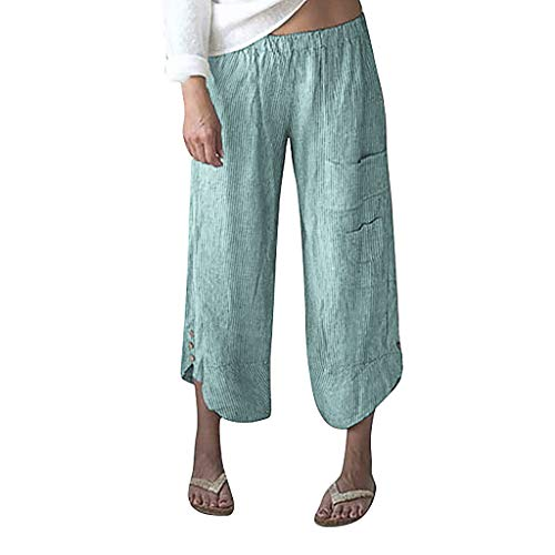 (TIANMI Women Plus Size Stripe Pocket Wide Leg Pants Cotton Linen Trousers Ninth Pants Green)