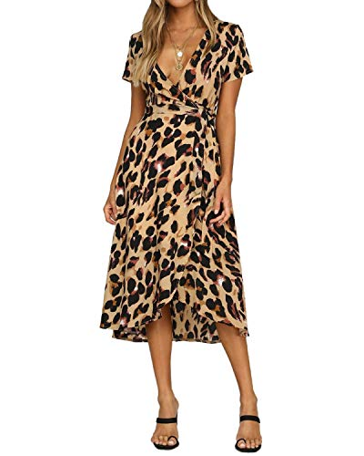BYSBZD Womens Deep V Neck Floral Leopard Dress Short Sleeve Sexy Ruffles Fashion Mini Dress Brown XL