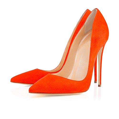 Elegante glissement Escarpins orange ELASHE stiletto Bout en Femme daim sur pointu 12cm Talons Escarpins Hauts YSqvY