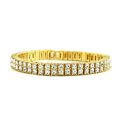HH Bling Empire Iced Out 14k Gold Mens Hip Hop CZ Diamond Bracelets (2 Row cz Diamond Bracelet) - Gold Mens Diamond Bracelet