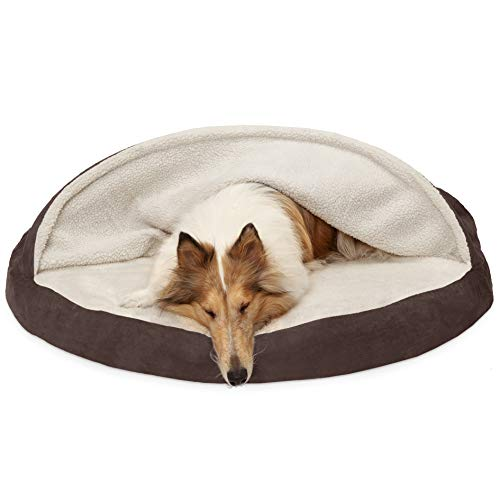 Furhaven Pet Dog Bed | Orthopedic Round Cuddle Nest Faux Sheepskin Snuggery Burrow Pet Bed for Dogs & Cats, Espresso, 44-Inch