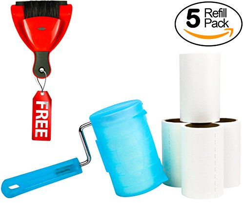 Temples Pride Lint Roller - Reusable Strong Handle - Does Not Unravel In Use - Tears Evenly & Easily - Super Sticky - Built To last - Free Products Included - Great Remover For Pet Hair, Dog & Cat Fur (Furniture Quality Comparison)