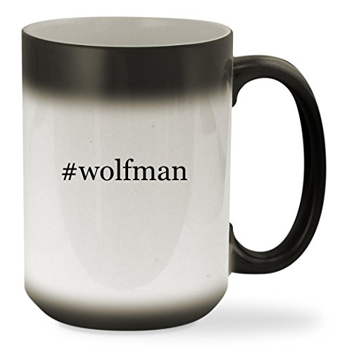 [#wolfman - 15oz Black Hashtag Color Changing Sturdy Ceramic Coffee Cup Mug] (Van Helsing Wolf Costume)