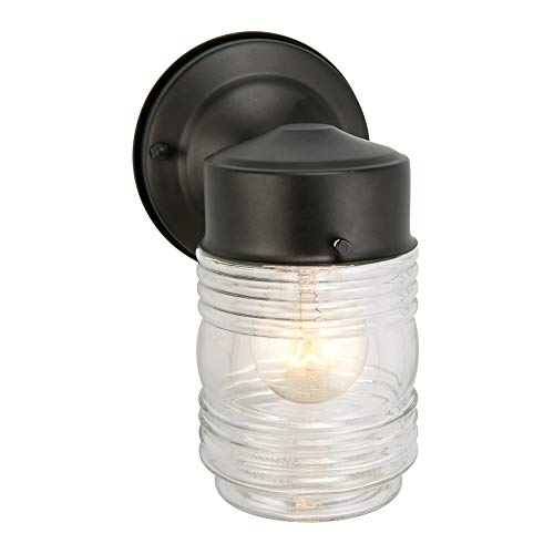 - Design House 502195 Jelly Jar 1 Light Indoor/Outdoor Wall Light, Black