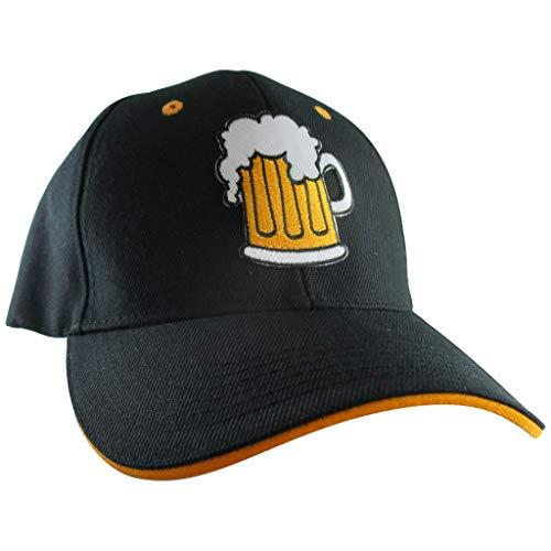 (AffinityAddOns Beer Mug Hat, Men's Black Baseball Cap, Embroidered Patch)
