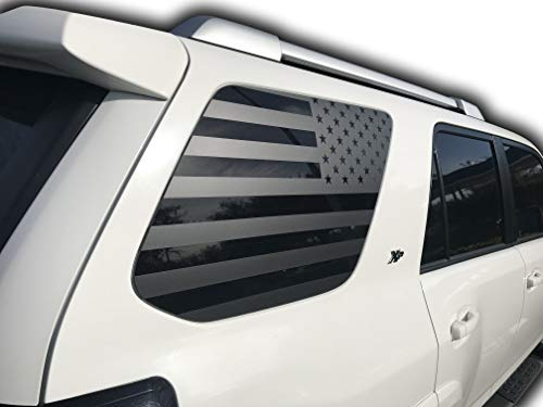 (Toyota 4Runner USA American Flag Window Decal | Matte Black Vinyl for Rear Side Windows | 2010-2019 | 3M Vinyl Free Install Tool | Graphics Accessories | Includes Thin Blue and red line (Matte Black))