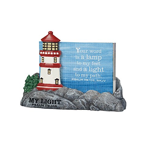 Scripture Card Holder (Lighthouse Christian Products My Light Lighthouse with 30 Cards Scripture Card Holder, 3 1/2 x 4 1/2 x 1