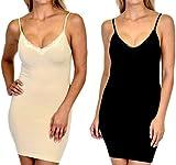 Patricia Lingerie Women's Shapewear Microfiber Stretch Control Slip Dress 2 Pack Black/Nude X-Large