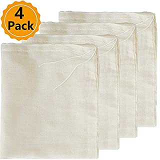 "Cheesecloth Bag, 4 Packs Nut Milk Strainer,Cold Brew Bag,100% Organic Unbleached Cotton Muslin Cloth Bags,Reusable Yogurt/Coffee/Tea/Juice/Wine Strainer,Mesh Food Bags (8"" x 10"")"