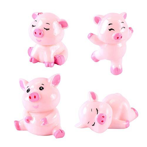 Pig Crown Race - Misszhang-US 4Pcs Cute Cartoon Pig Family Resin Garden Bonsai Miniature Landscape Decoration