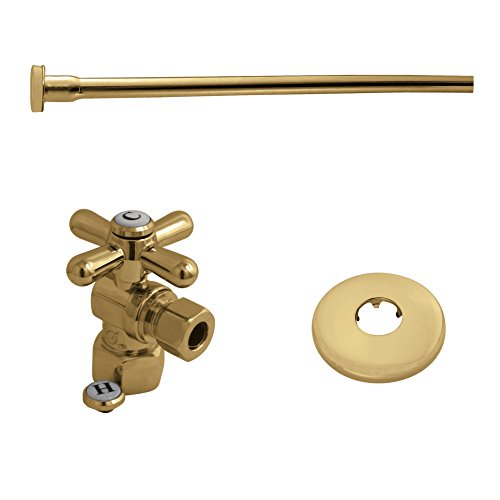 Kingston Brass KTK102P Trimscape Toilet Supply Kits Combo, 1/2-Inch IPS Inlet, 3/8-Inch Comp Outlet, Polished Brass