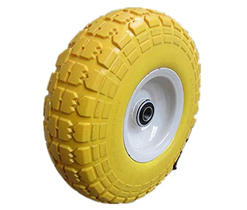 Kunhua 11-pu-y-dh-16p 4.10/3.50-4 Flat Free Hand Truck/Utility Tire, 2.25 Offset Hub, 5/8 Ball Bearings, 10 Tire Diameter,knobby Tread 2.25 Offset Hub 5/8 Ball Bearings 10 Tire Diameter Kunhua Machinery