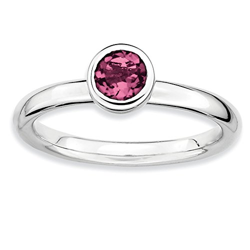 - Size 10 - Solid 925 Sterling Silver Stackable Expressions Low 5mm Round Pink Simulated Tourmaline Ring
