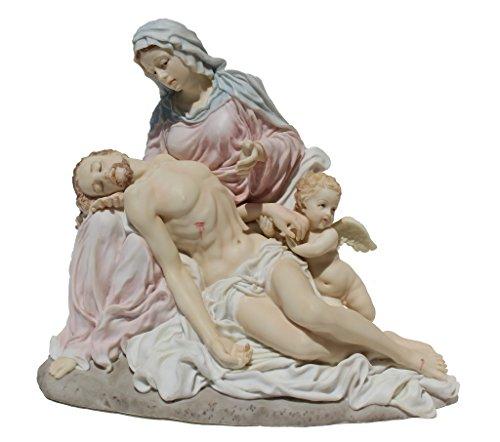 Polystone Cherub (Pieta with Cherub, Virgin Mary Supports Jesus Christ, Carracci, Light Colors, Polystone Statue Figurine)