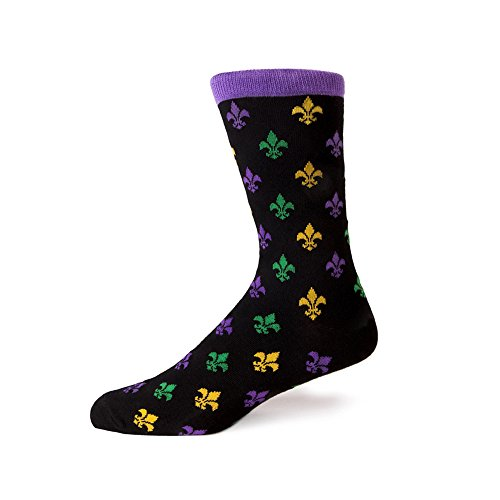 Lis De Blocks Fleur - Sheec - TrouSox - Mardi Gras Fleur-de-lis Crew Length Dress Socks