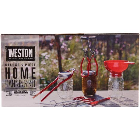 Weston 5 Pc Red Deluxe Home Wide Mouth, Vinyl-coated, Canning Tool Kit