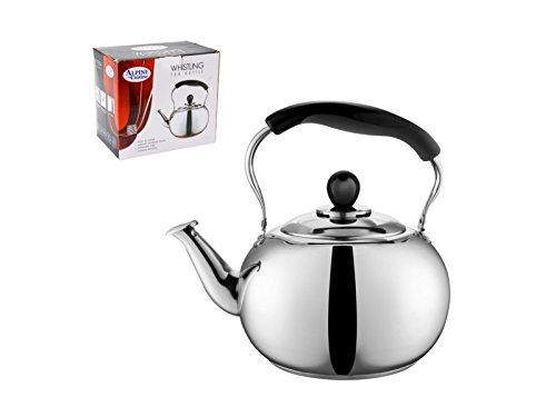 Harmonic Tea Kettle - 4 Liter Alpine Cuisine Polished Mirror-Finish Stainless Steel Whistling Capsule Base Stovetop Teakettle Tea Kettle Teapot, Gas Electric Induction Compatible