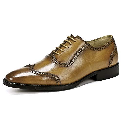 YongBe Herren Brogue Business Office Work Formale Schwarze Leder Schnürschuhe Smart braun Spitzschuh Oxford Derby Loafer Wohnungen Hochzeit Kleid Schuhe Für Männer