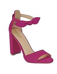 cklass Zapato Sandalia Casual Mujer Tacón Moño Decorativo Fiusha